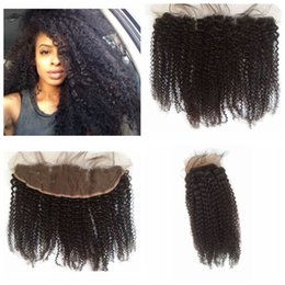 KinKy curly front closure online shopping - 13x4 Lace Frontal Closure Kinky Curly Brazilian Frontal Unprocessed Lace Front Closure Cheap G EASY Lace Frontals With Bleached Knot