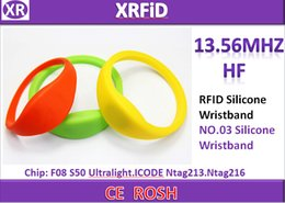 Rfid Print Canada - Thin Silicone wristband 20mm width 1000pcs ISO14443A Colorful rfid ntag213 silicone wristband free DHL Blank Printing