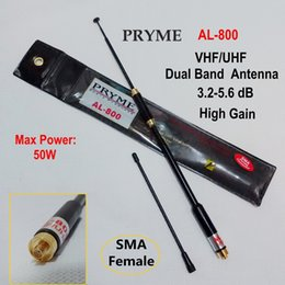 Discount dual band high gain antenna - Wholesale-PRYME AL-800 SMA Female 144 430MHz Dual Band High Gain Super Quality  Antenna for Puxing KWD HYT BAOFENG Quans