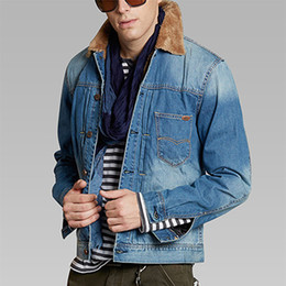 Denim Veste Fourrure Mâle Pas Cher-Veste en denim d'hiver hommes de mode coréenne chaud plus velours Jeans Veste mâle Vintage Slim Fit denim vestes en fourrure collier Outwear
