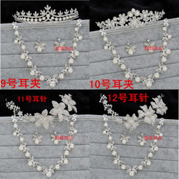 hair studs 2019 - Bautiful 3 Pieces Bridal Accessories 6 Styles Silver Stud And Clip Crystal Beaded Wedding Crown Pearls Tiaras Crowns For