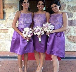 knee length spaghetti strap bridesmaid dresses 2019 - Elegant new Purple Bridesmaid Dresses Lace Short Summer Party Gowns With Spaghetti Straps Cheap Taffeta Dresses gown che