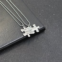 "Discount silver key gift Two puzzles necklace and key ring Write "" your crazy matches my crazy "" Creative pendants Good gift necklace"