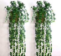 Wedding Fake Ivy Vines Canada - Hot Selling Artificial Ivy Leaf Garland Plants Vine Fake Foliage Flowers for Home wall Decor wedding party decorations free shipping