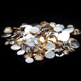 Light Coffee Glue On Resin Rhinestones 1000pcs 2-5mm Round Flatback Non Hotfix Beauty Chatons DIY Nails Art Scrapbook Supplies