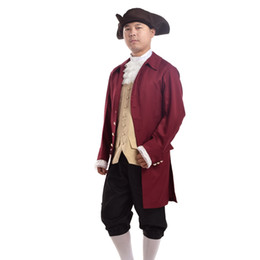 vintage lace socks UK - Vintage Men Rococo Cosplay Suit Colonial Revolution Costume Uniform Vest Pants Hat Socks Lace Collar Outfit