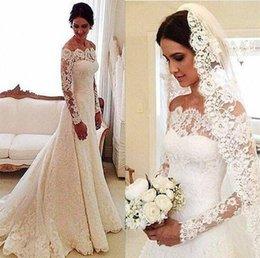 2017 Full Lace Mermaid Wedding Dresses Long Sleeves Off Shoulder Court Train Elegant Plus Size