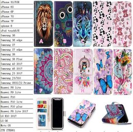 moto x flip cover case NZ - Relief Flower Leather Wallet Case For Iphone XR XS MAX X Galaxy Note 9 8 S9 For LG K10 2017 G6 Moto G5 Dreamcatcher Butterfly Flip Cover Owl