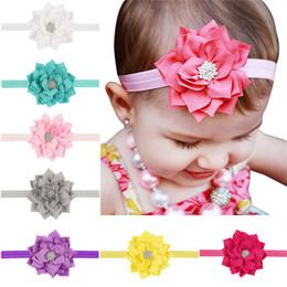 9244b3387de 13 Colors Baby Girls Lotus Flower Rhinestone Headbands Infant Kids Hair  Accessories Headwear Cute lovely Hairbands Princess Headwear KHA18