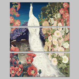 $enCountryForm.capitalKeyWord NZ - Big size 3pcs decoration white peacock forest bird wall art picture flower tree colorful Canvas Painting living room unframed