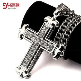 Mens angel necklace online shopping - Real Gold Plated Crystal Cross Pendant Necklace For Men Hiphop Jewelry Necklaces Mens Silver Hiphop Long Chain Necklace