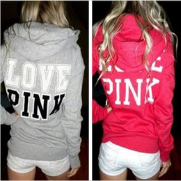 Barato Casaco Longo Mulheres Hoodie-Pink Letter Hoodies Love Pink Jackets Print Casual Casaco Mulheres Manga comprida Sweatshirts Algodão Moda Pullover Hot Jumper Outwear Tops B3302