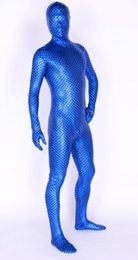 $enCountryForm.capitalKeyWord UK - New fabrics blue metal small Scale films Lycra Body Suit Fancy Dress Super Hero Bodysuit