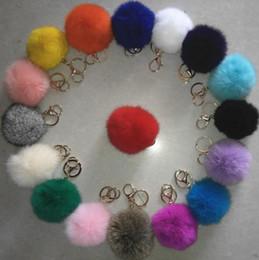 $enCountryForm.capitalKeyWord NZ - Luxury 8CM genuine rabbit fur ball plush key chain for Christmas tree ornament filler bag car key ring Bag Pendant car keychain party gift