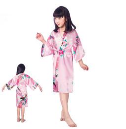 Cotton Kimonos Wholesale Canada - Kids Robe Satin Small Children Kimono Robes Bridesmaid Gift Flower Girl Dress Silk Bathrobe Nightgown Kimono robe 7 Sizes free