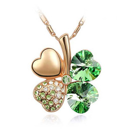 gold lucky clover 2019 - high quality rose gold color plated jewelry drop shipping classic green lucky clover pendant necklace made with Swarovsk