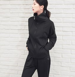 Korean women sports suit online shopping - Sports and leisure suits women autumn and winter new fitness suits zipper hooded jacket Korean version of Harlan pants running yoga clothes