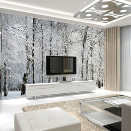 Wholesale  Large Wall Murals Papel De Parede Snow Birch Trees Forest Photo  Wallpaper Mural For Living Room Bedroom Tv Sofa Background Decor Large  Wallpaper ... Part 57