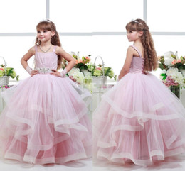 Cute Lace Up Wedding Dresses Canada - Pink Princess Flower Girls Dresses With Spaghetti Strap Lace Up Tiered Cute Kids Wedding Guest Ball Gowns Sash Tulle Formal Pageant Dress