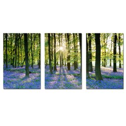 $enCountryForm.capitalKeyWord UK - Lavender Forest Canvas Print Wall Decor Contemporary Art Modern 3 Panel Giclee Canvas Artwork for Living Room Office Decoration