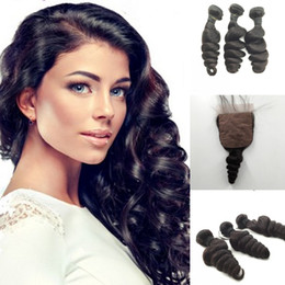 human hair weave part silk closures UK - Brazilian European Indian Virgin Hair Weave Loose Wave 4Pcs Lot Middle Part Silk Base Closure With Bundles 8A Human Hair Extension