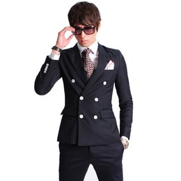 $enCountryForm.capitalKeyWord UK - 2016 New Fashion Brand Men Blazer Men Double-breasted Suit Set Casual High-quality Slim Fit Suits Groom Wedding Dress Men Suit