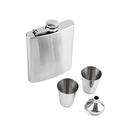 $enCountryForm.capitalKeyWord UK - 7 oz Stainless Steel Hip Flask Sets jack Flagon With Funnel Cups wine Whisky Hip Flask Portable Flagon Gift Box Packing wa4065