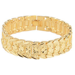 Bracelet Chain Solid Gold UK - Star Carved Solid Wrist Chain 18K Yellow Gold Filled Men's Bracelets 8.3 inches,17mm