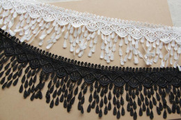 cotton embroidered lace NZ - 15 Yard White Black Embroidered TeardropTassel Cotton Lace Fabric Trim Ribbon For Apparel Sewing DIY Doll Cap Hair clip