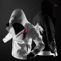 Barato Atacado Preto Mens Atacado-Atacado 2017 Autumn Winter Assasins Creed Hoodie Homens Black Cosplay Jacket Costume Fleece Alinhado Assassins Creed Mens Hoodies Casacos