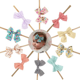 Wholesale girls head floWers online shopping - 10 Style Handmade Boutique Nylon Headband with Fabric Bow for Baby Girls Hair Accessories Hair Flowers Head Band Wholesales