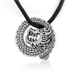 man pendant gold dragon 2021 - Punk Rock Style Vintage Dragon Pendant Charm Men Adjustable Black Braided Leather Necklace