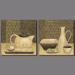 $enCountryForm.capitalKeyWord NZ - Japanese chinese still life teapot tea cup food plants picture decoration Canvas Painting living room wall Art print unframed