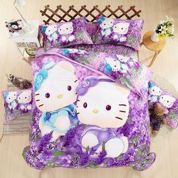 Girls Purple Bedding Sets Canada - Purple Dream Lavender Hello KT Printing Bedding Set 3-4 Pcs Bedclothes Duvet Cover Bed Sheet Girls Bedding Sets, Home Textile Gift