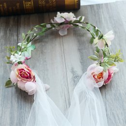 Fleurs De Couronne De Mariée Pour Mariage Pas Cher-Bride Girls Garlands Accessoires pour cheveux pour enfants 2017 Fashion Foam Adjust Flowers Guirlande Boho Floral Crown Wedding Party Headbnad A7368