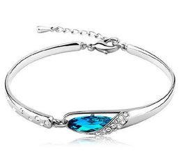 $enCountryForm.capitalKeyWord Canada - New women Style Luxurious Blue Austria Diamond Bracelet 925 Sterling Silver plated Glass Shoes Crystal Bangle Bracelet Wholesale
