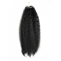 "Chinese  Coarse Yaki Loop Human Hair Grade 8a+ Micro Loop Ring Hair Extensions Human Hair Bundles Yaki Straight Extensions 100g pc 10""--28"" manufacturers"