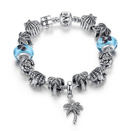 Pandora Charm Bracelet Blue Canada - European Pandora Style Charm Bracelets with Blue Murano Glass Beads & Pearl Oyster Silver Charms & Leaf Dangles DIY Bangle Bracelets BL146