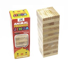 $enCountryForm.capitalKeyWord NZ - 48pcs Wooden Tower Toy Wood Building Blocks Toy Domino Stacker Extract Building Educational Jenga Game Gift For Children