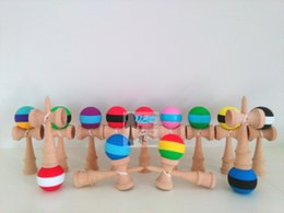 $enCountryForm.capitalKeyWord NZ - High quality 25cm large three color rubber Paint Kendama Ball Wooden toys Game Ball Japanese Traditional Toy Balls Educational Toys Free DHL