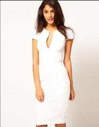 Discount white pencil lead 2017 Summer Suit-dress Temperament Lead Color Short Sleeve Pencil Thin Dress Wholesale