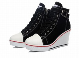 Chinese  women sneakers platform high top round toe lace up canvas shoes zipper buckle wedges woman high heels ladies casual shoes plus size 35-43 manufacturers