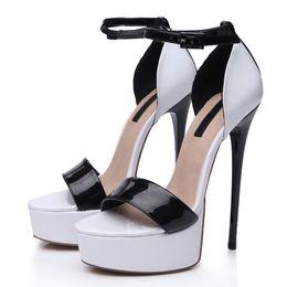 $enCountryForm.capitalKeyWord Canada - Split White Black Shiny PU Luxury Party Sandals Stiletto Heel Designer High Heel Shoes Lace Up One Piece Strape 1002#