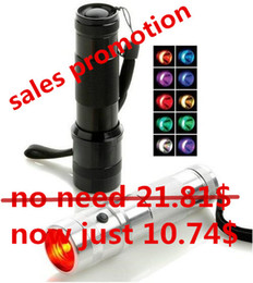 Discount rgb flashlights torches - Promotion Colorshine LED RGB Color Changing Torch Flashlight,3W Aluminium Alloy RGB Edison Multi color led flashlight ra