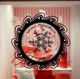 $enCountryForm.capitalKeyWord NZ - Creative Round Mirror Snowflake Wall Stickers Merry Christmas Wall Quote Wallpaper Decor Store Window Glass Decor Wall Applique Decoration