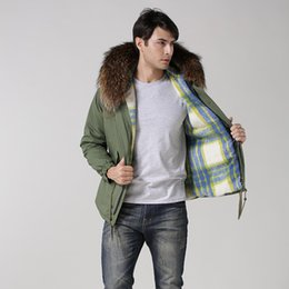 Wholesale Long Parka Canada - 2016 Mens Plus Size Short Style Blue Lattice Parka Jacket With Real Raccoon Collar For Male,Windproof high quality uniex coat
