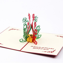 Paper Art Pop Up Cards Canada - Creative Daffodils 3D Pop UP Greeting Cards Fashion Paper DIY Postcard Art Thank you Card Free Shipping