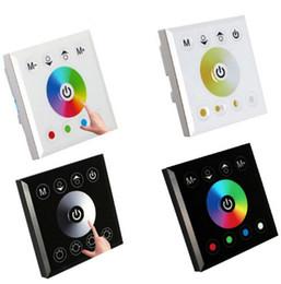 Venta al por mayor de RGB RGBW Un solo color Montado en la pared LED Controlador Interruptor Controladores de panel táctil para 3528 5050 5630 LED Strip Lights Lámpara Negro Blanco