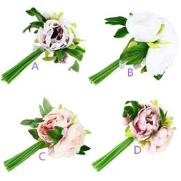 wholesale peonies bouquet Canada - False Peony 1 Bouquet Including 5 Head Flowers Bloom Silk Artificial Festive Party Wedding Floral Flowers Home Garden