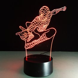 2017 Spiderman Attacting 3D Optical Illusion Lamp Night Light DC 5V USB  Charging AA Battery Wholesale Dropshipping Free Shipping Retail Box